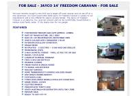 White 2002 Jayco 14' Freedom Caravan For Sale. An ideal low tow, pop top caravan that can be comfortably towed behind a medium sized family sedan.